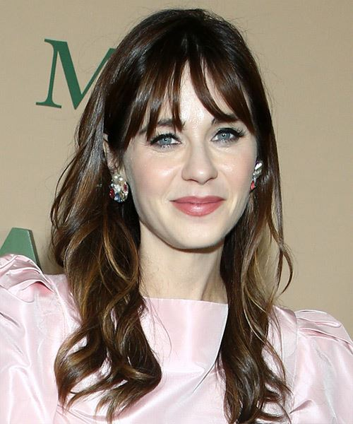 Zooey Deschanel Long Wavy    Brunette   Hairstyle with Blunt Cut Bangs  and  Blonde Highlights - Side on View