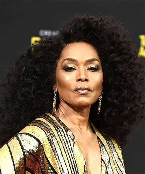 Angela Bassett Long Curly   Black  Afro  Hairstyle   - Side on View