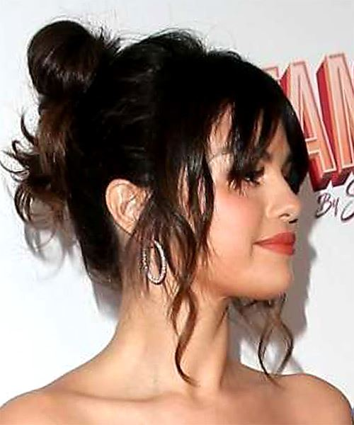 Selena Gomez Medium Wavy   Black   Updo  with Layered Bangs  - Side on View