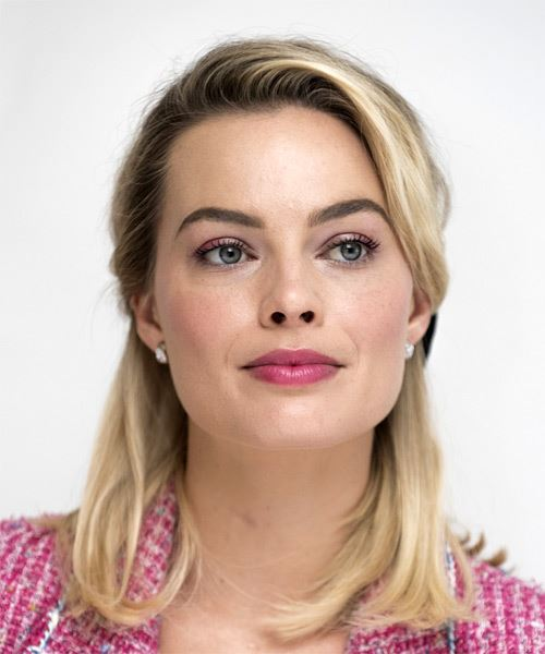Margot Robbie Medium Straight    Blonde  Half Up Hairstyle with Side Swept Bangs  - Side on View
