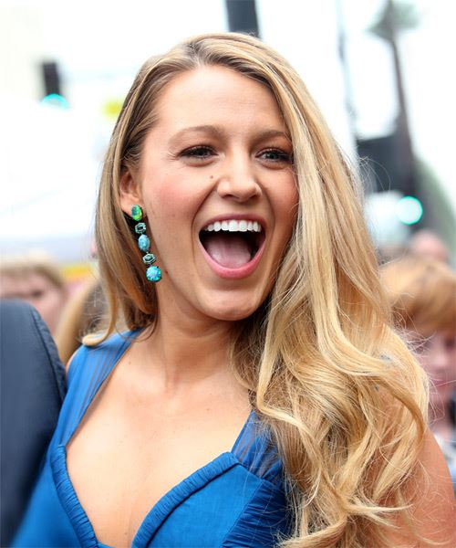 Blake Lively Long Straight    Blonde   Hairstyle with Side Swept Bangs  and Light Blonde Highlights - Side on View