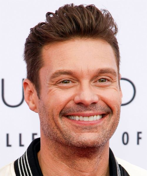 Ryan Seacrest Short Straight   Dark Brunette   Hairstyle   - Side on View