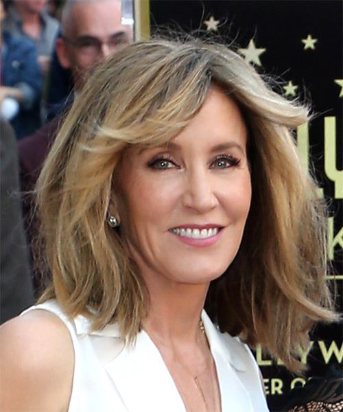 Felicity Huffman Medium Straight    Chocolate Blonde   Hairstyle with Blunt Cut Bangs  - Side on View