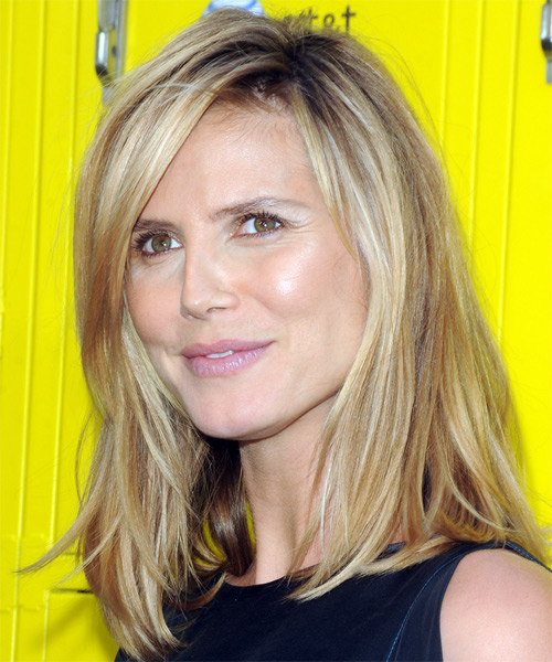 Heidi Klum Long Straight Casual   Hairstyle   - Side on View