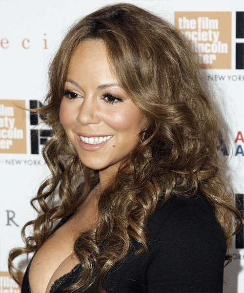 Mariah Carey Long Curly Casual   Hairstyle   - Side on View