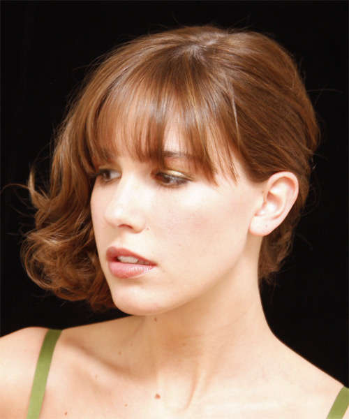 Medium Curly   Light Copper Red  Updo  with Blunt Cut Bangs  - Side on View