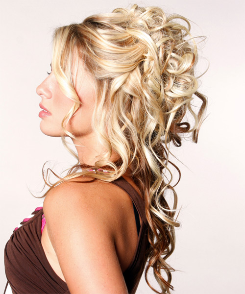 Half Up Long Curly Formal  Half Up Hairstyle   - Side on View