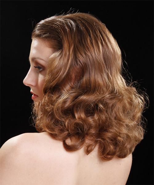 Medium Curly Formal    Hairstyle   - Medium Caramel Brunette Hair Color - Side on View