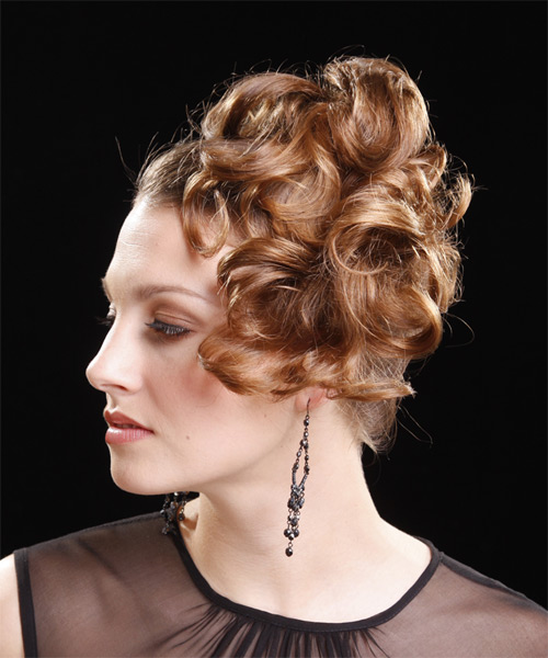 Long Curly   Light Caramel Brunette  Updo    - Side on View