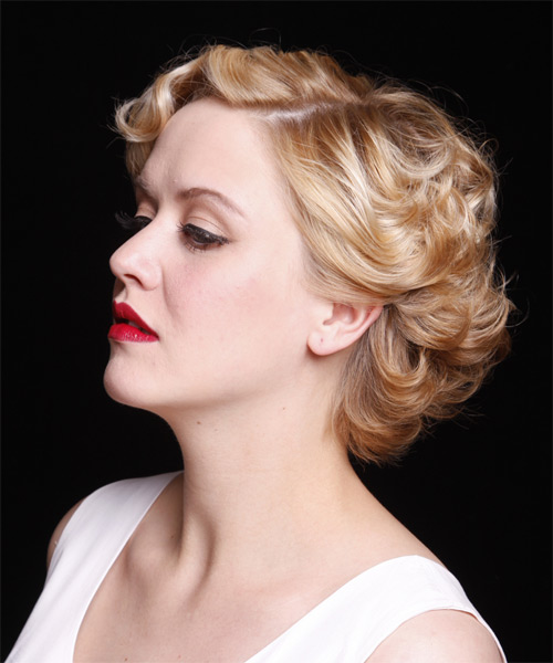 Short Wavy Formal   Hairstyle   - Medium Blonde (Strawberry) - Side on View