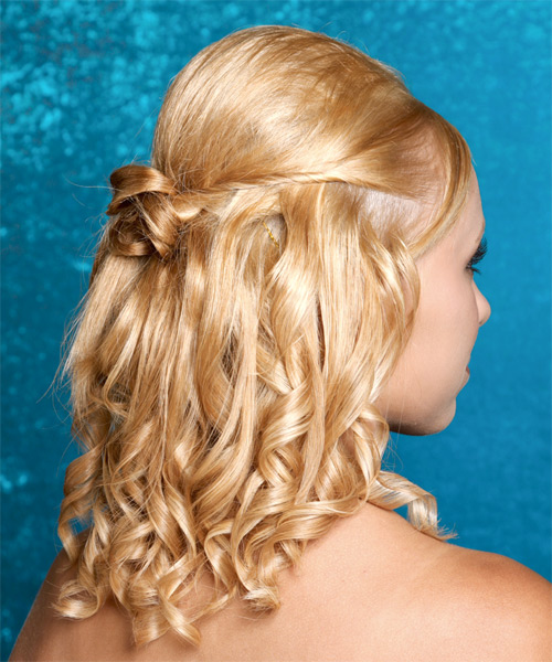 Medium Curly Formal   Updo Hairstyle   - Medium Honey Blonde Hair Color - Side on View
