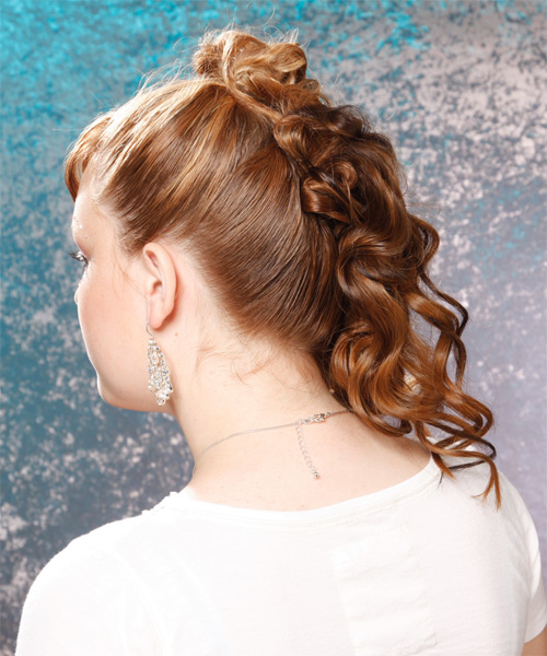 Long Curly Formal   Half Up Hairstyle   - Medium Golden Brunette Hair Color - Side on View