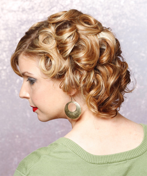 Medium Curly Formal   Updo Hairstyle   - Side on View