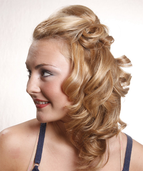 Long Curly Casual   Half Up Hairstyle   - Medium Golden Blonde Hair Color - Side on View