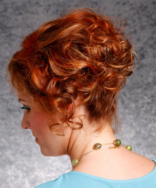 Short Curly Formal    Hairstyle   - Dark Copper Red Hair Color - Side on View