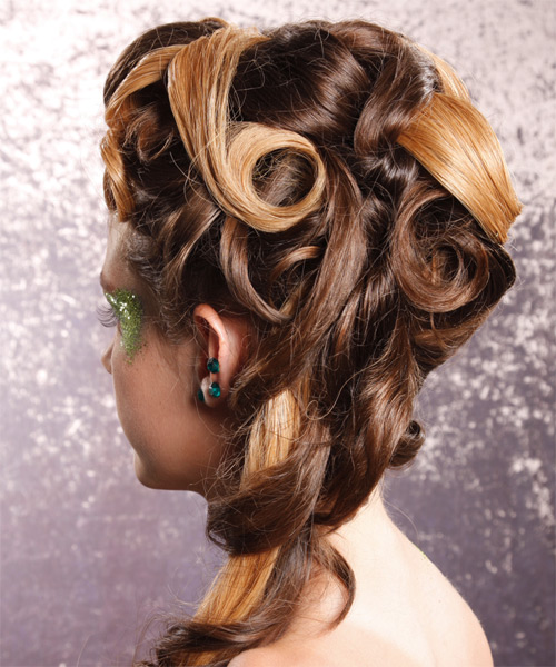 Long Wavy Alternative   Half Up Hairstyle   -  Golden Brunette Hair Color - Side on View