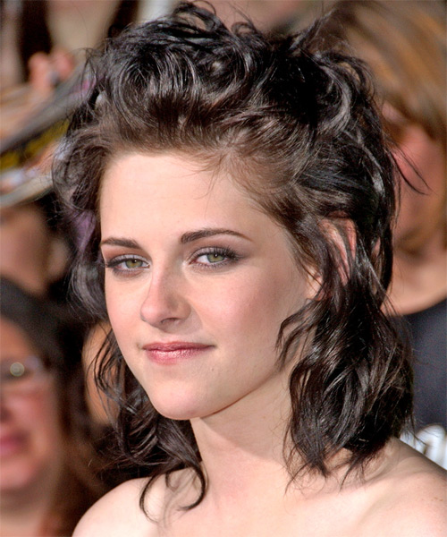 Kristen Stewart  Long Curly    Half Up Hairstyle   - Side on View
