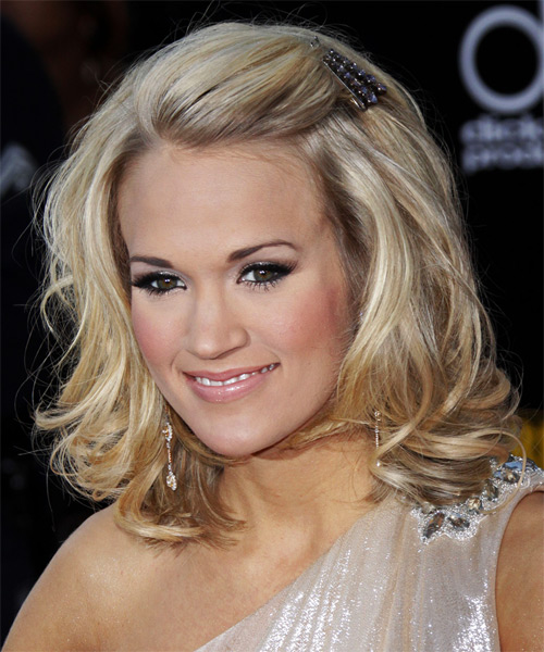Carrie Underwood Medium Wavy Formal   Hairstyle   - Light Blonde - Side on View