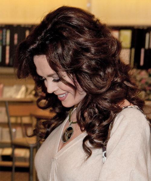 Marie Osmond Long Wavy Formal   Hairstyle   - Side on View