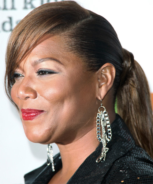 Queen Latifah Updo Long Straight Formal  Updo Hairstyle   - Side on View