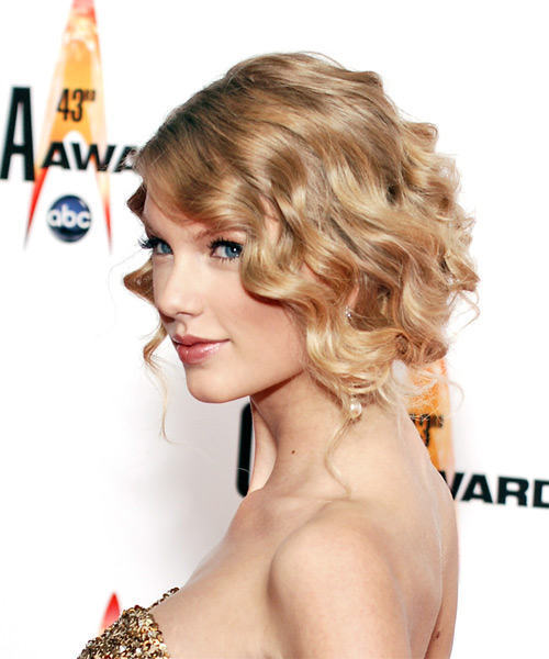 Taylor Swift Updo Long Curly Formal Wedding Updo Hairstyle   - Side on View