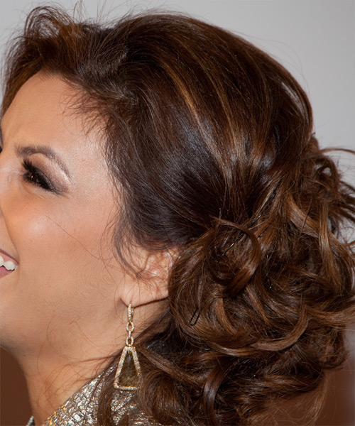 Eva Longoria Parker  Long Curly Formal   Updo Hairstyle   -  Chocolate Brunette Hair Color - Side on View