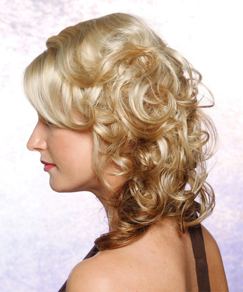 Long Curly Formal   Updo Hairstyle   - Light Chestnut Blonde Hair Color - Side on View