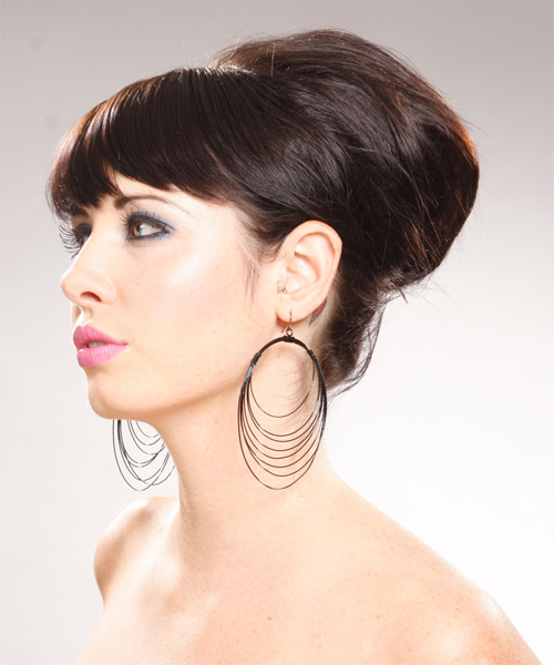 Long Straight Formal   Updo Hairstyle with Side Swept Bangs  - Dark Chocolate Brunette Hair Color - Side on View
