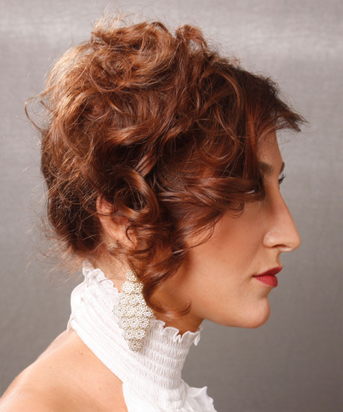 Updo Medium Curly Formal  Updo Hairstyle   - Side on View