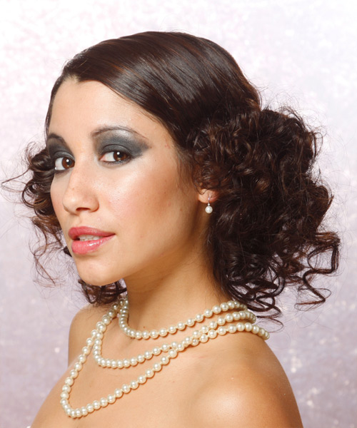 Long Curly Formal   Updo Hairstyle   - Medium Brunette Hair Color - Side on View