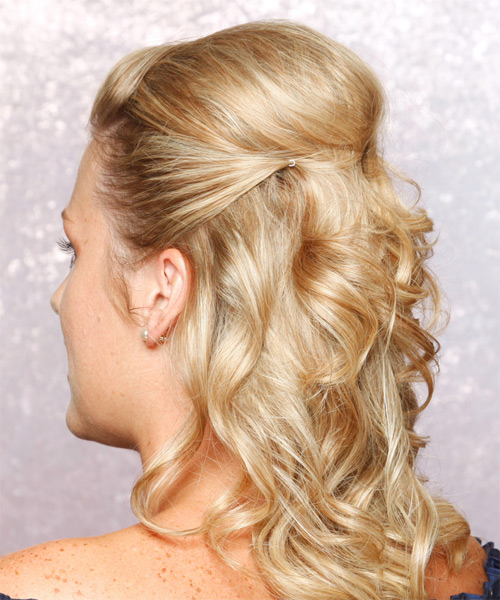 Long Curly Formal   Half Up Hairstyle   - Golden Hair Color - Side on View