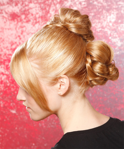 Updo Long Curly Formal  Updo Hairstyle   - Side on View