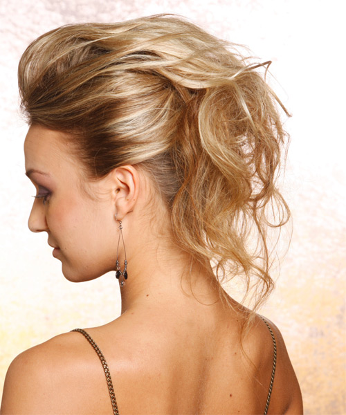 Long Straight   Dark Blonde  Updo    - Side on View