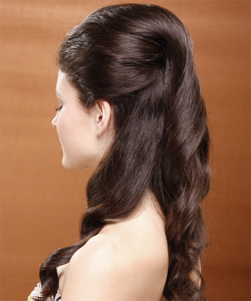 Long Curly Formal   Half Up Hairstyle   - Medium Chocolate Brunette Hair Color - Side on View