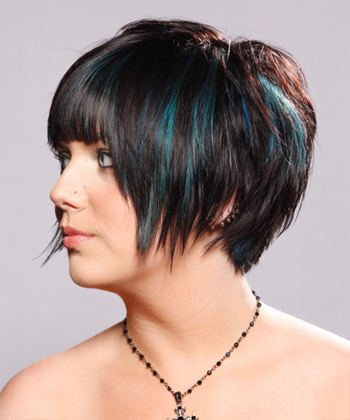 Short Straight   Dark Mocha Brunette   Hairstyle   - Side on View