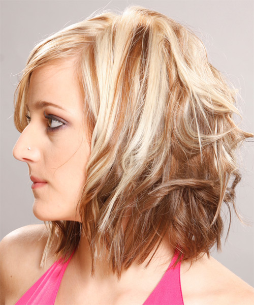 Medium Wavy   Light Blonde   Hairstyle with Side Swept Bangs  - Side on View