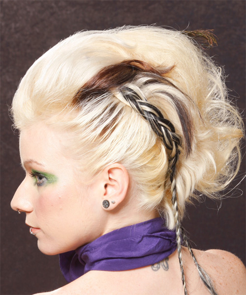 Long Curly Formal   Updo Hairstyle   - Light Platinum Blonde Hair Color - Side on View