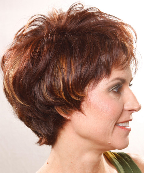 Short Straight Casual    Hairstyle   - Medium Burgundy Brunette Hair Color - Side on View