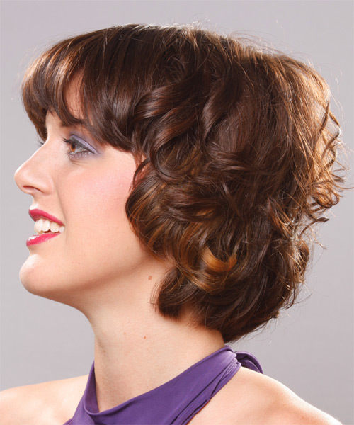 Short Wavy Formal   Hairstyle   - Side on View