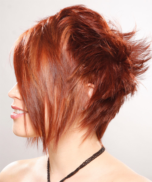Short Straight Alternative    Hairstyle with Asymmetrical Bangs  - Medium Ginger Red Hair Color - Side on View