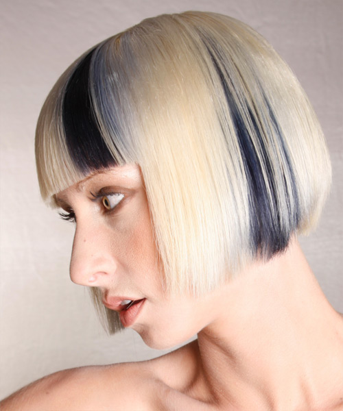 Medium Straight Alternative  Bob  Hairstyle with Blunt Cut Bangs  - Light Platinum Blonde Hair Color with Black Highlights - Side on View