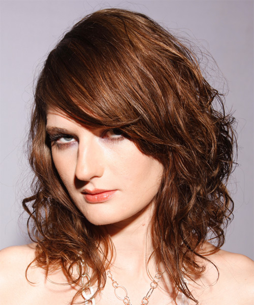 Long Wavy Alternative    Hairstyle with Side Swept Bangs  - Light Auburn Brunette Hair Color - Side on View