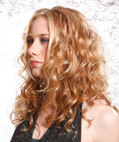 Long Curly Alternative    Hairstyle   -  Copper Blonde Hair Color - Side on View
