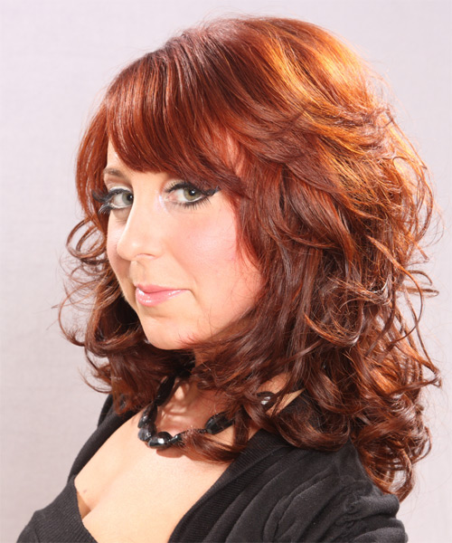 Long Curly Formal    Hairstyle with Side Swept Bangs  -  Ginger Red Hair Color - Side on View