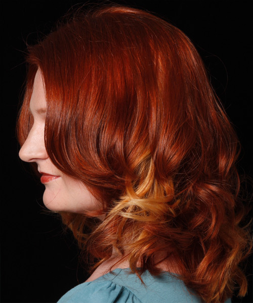 Long Wavy Casual    Hairstyle   - Medium Bright Red Hair Color - Side on View