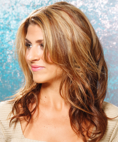 Long Wavy Casual    Hairstyle   - Light Copper Brunette Hair Color with Medium Blonde Highlights - Side on View