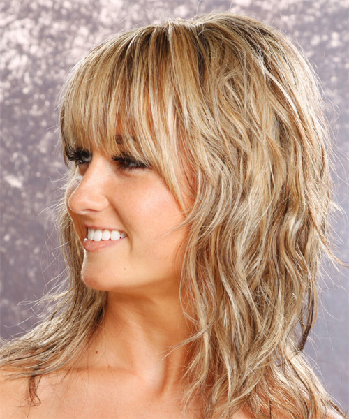 Long Wavy Casual   Hairstyle with Layered Bangs  - Medium Blonde (Champagne) - Side on View