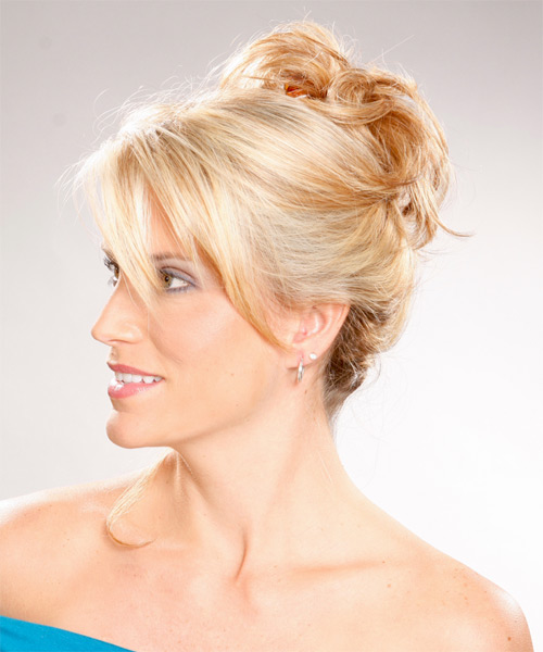 Long Curly Casual   Updo Hairstyle   - Light Golden Blonde Hair Color - Side on View