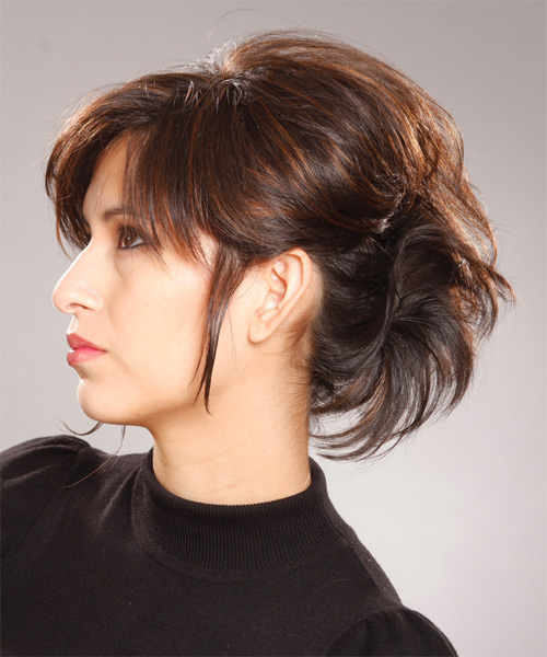 Medium Straight Formal   Updo Hairstyle   - Side on View