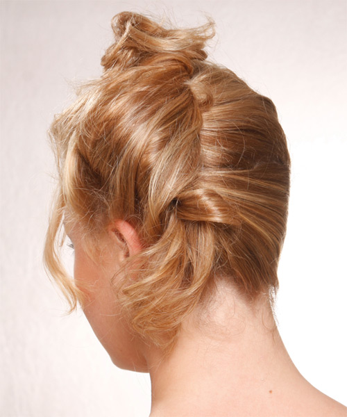 Updo Long Curly Formal  Updo Hairstyle   - Medium Blonde (Honey) - Side on View